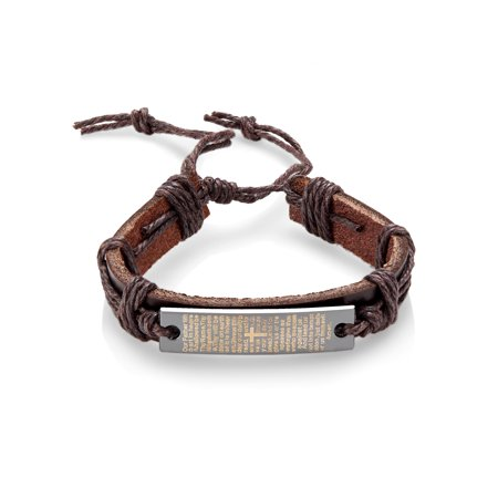 Prayer Bracelets (Men's Brown Leather Lord's Prayer Adjustable Bracelet)