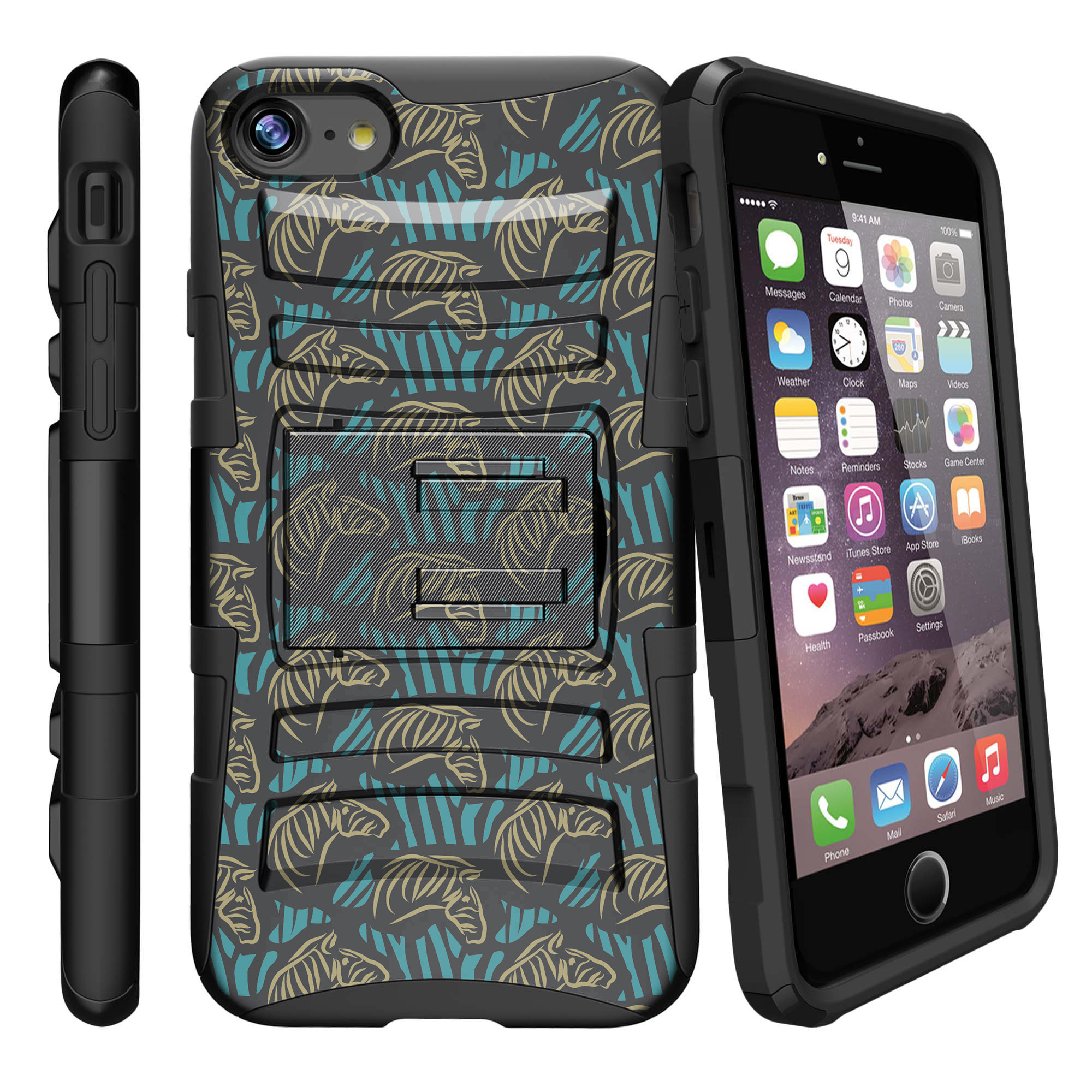 Apple iPhone 7  Case Shell [Clip Armor]- Premium Defender Case Hard Shell Silicone Interior with Kickstand and Holster by Miniturtle® - Zebra Sketch Pattern