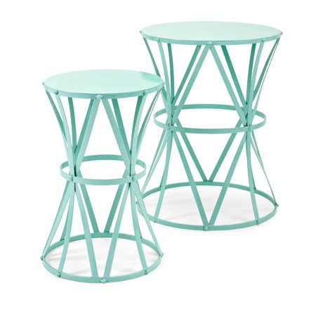 Set of 2 Teal Green Wrought Iron Accent Tables Accents Wrought Iron Single