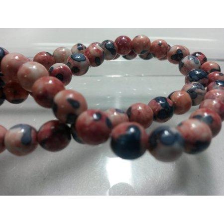 - 60 Beads - 6mm Mauve Blue Round Natural Rain Flower Gemstone Ocean Jade Dyed Beads BD0267