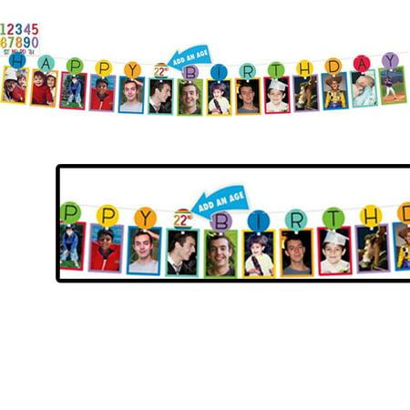 Rainbow Add-Any-Age Birthday Photo Garland (12ft) (Photo Garland)