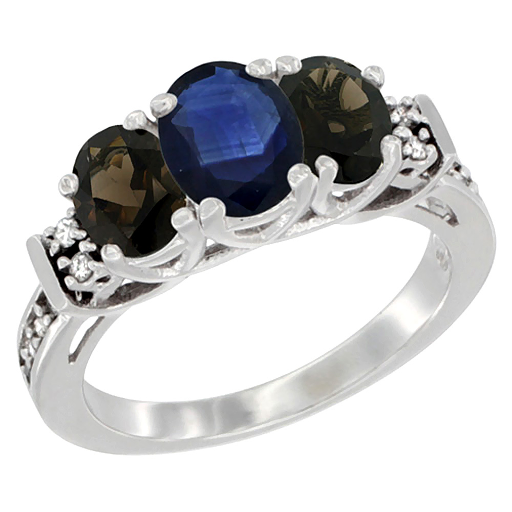 10K White Gold Natural Blue Sapphire & Smoky Topaz Ring 3-Stone Oval Diamond Accent, sizes 5-10 by WorldJewels