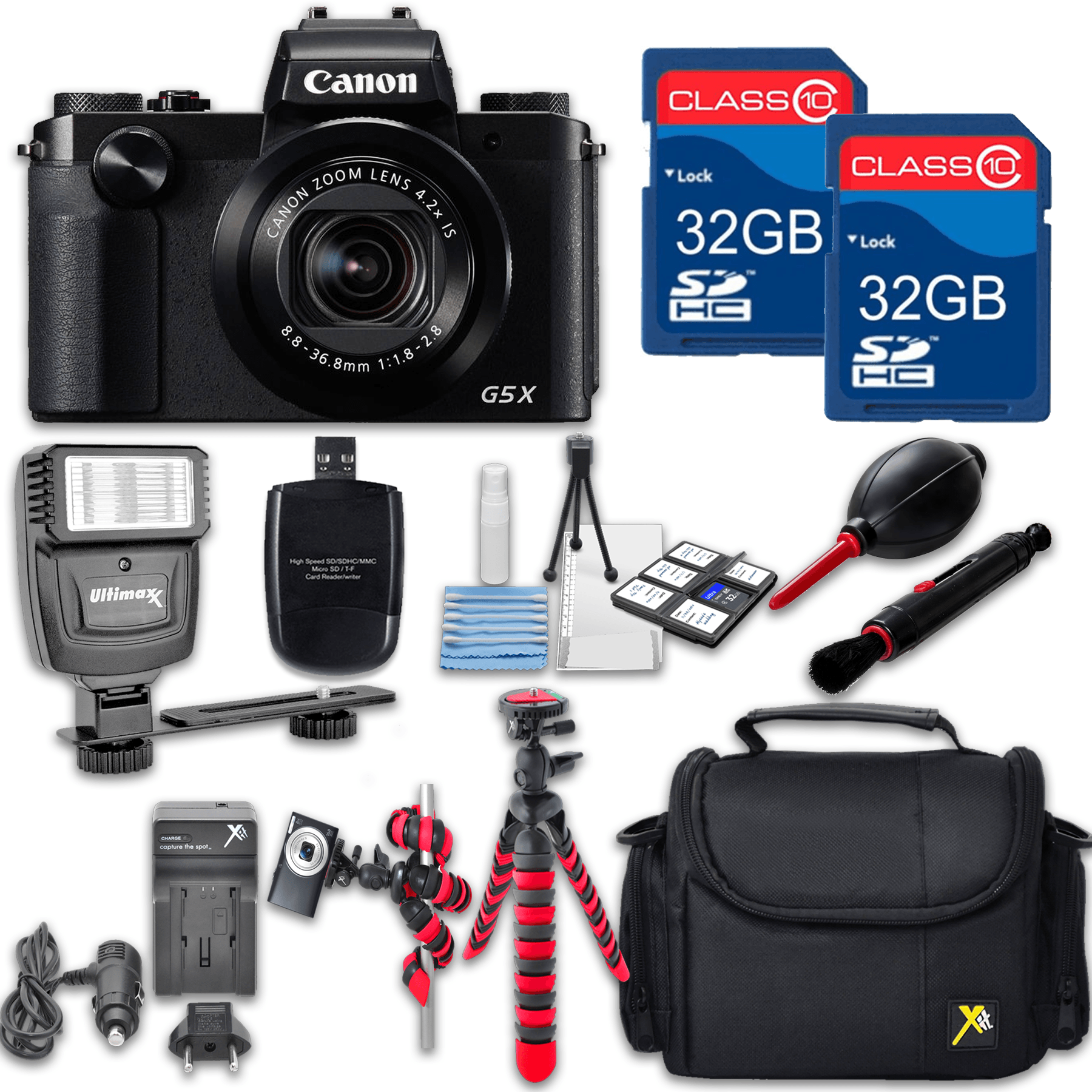Canon Powershot G5 X (Black) HS Point and Shoot Digital Camera, W/ Case + 64GB Memory + Flash + Tripod + Case + Cleaning Kit + More