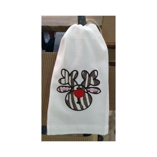 Samantha Grace Designs Egyptian Cotton Huck Holiday Applique Reindeer Hand Towel