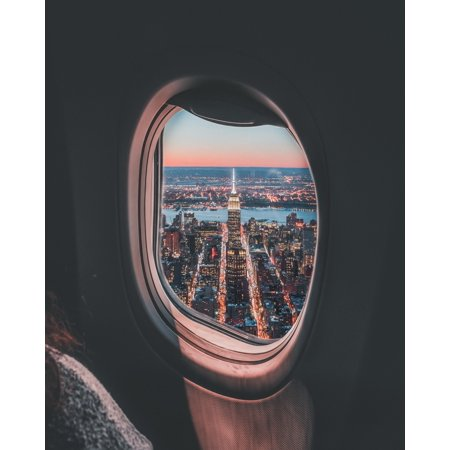 Laminated Poster Plane Window Photo Of Empire State Building Poster Print 24 x 36