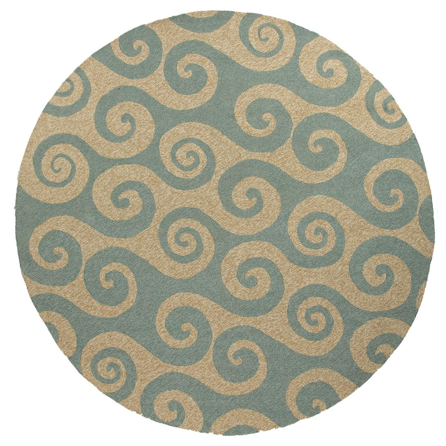 8' Light Blue and Sandy Tan Wave Hello Round Outdoor Area Throw Rug