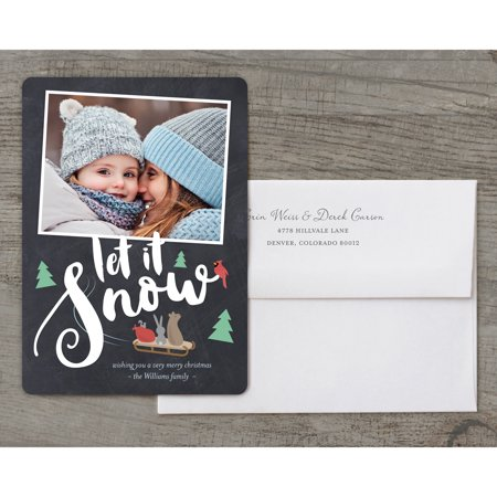Let It Snow - Deluxe 5x7 Personalized Holiday Christmas Card - Personalized It