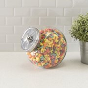 Large 91 oz. Round Glass Candy Storage Jar with Stainless Steel Top, Clear