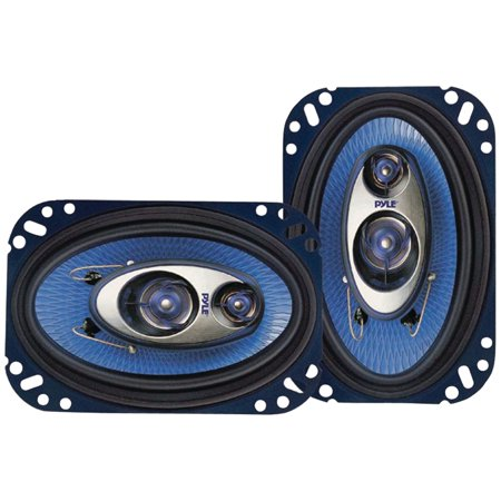 Water Resistant Component Speaker System - PYLE PL463BL - 4'' x 6'' Three Way Sound Speaker System - Pro Mid Range Triaxial Loud Audio 240 Watt per Pair w/ 4 Ohm Impedance and 3/4'' Piezo Tweeter for Car Component Stereo