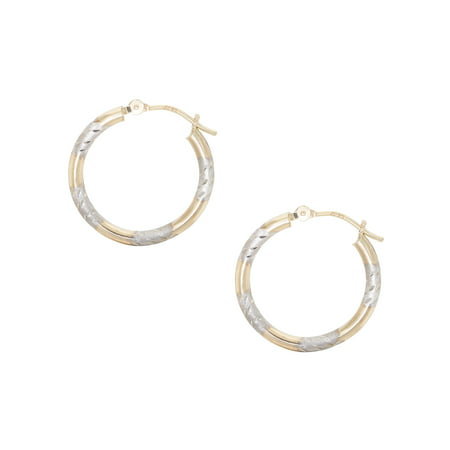 14kt Two Tone Gold Diamond Cut Hoop Earrings 14kt 2 Tone Diamond Earrings