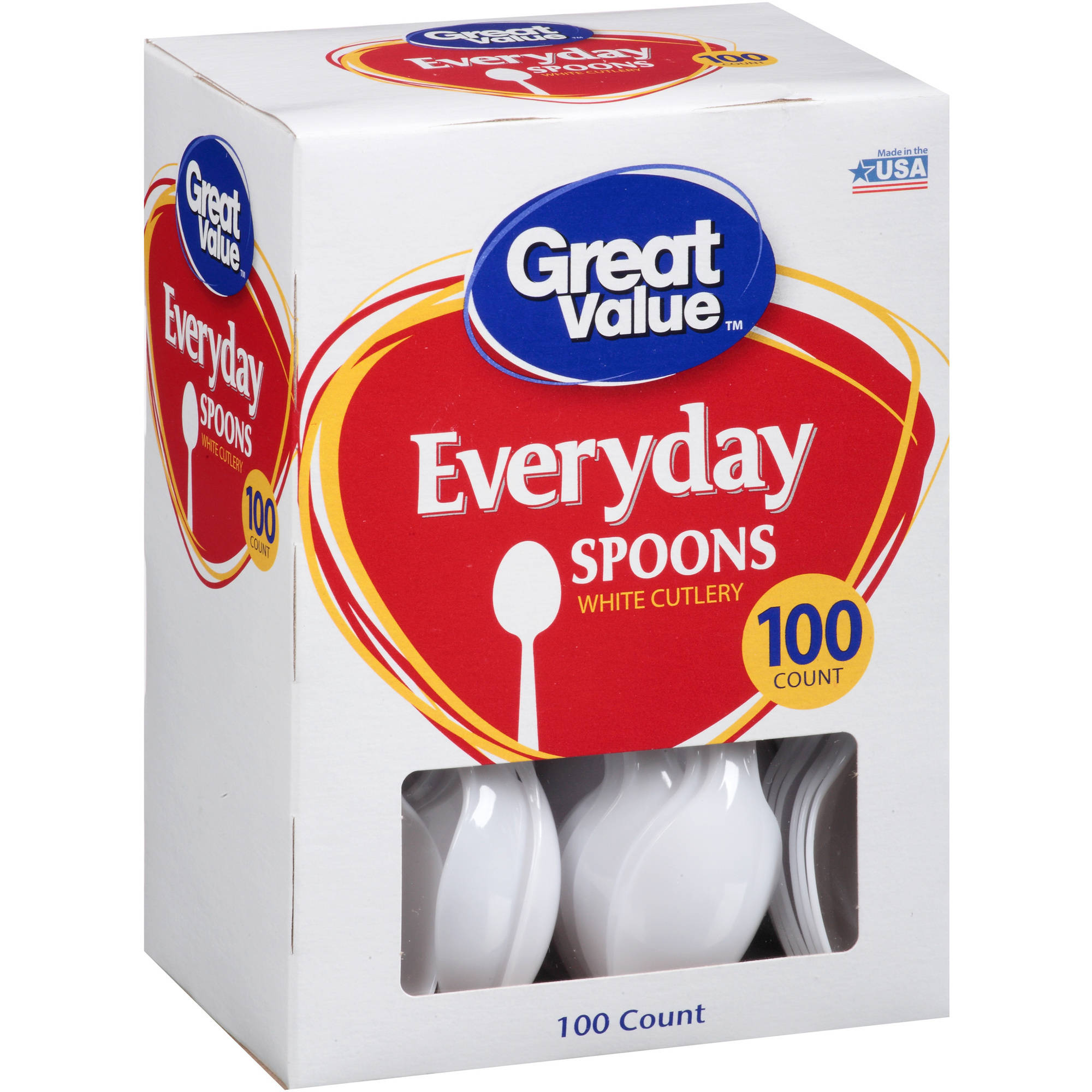 Great Value White Spoons, 100 ct