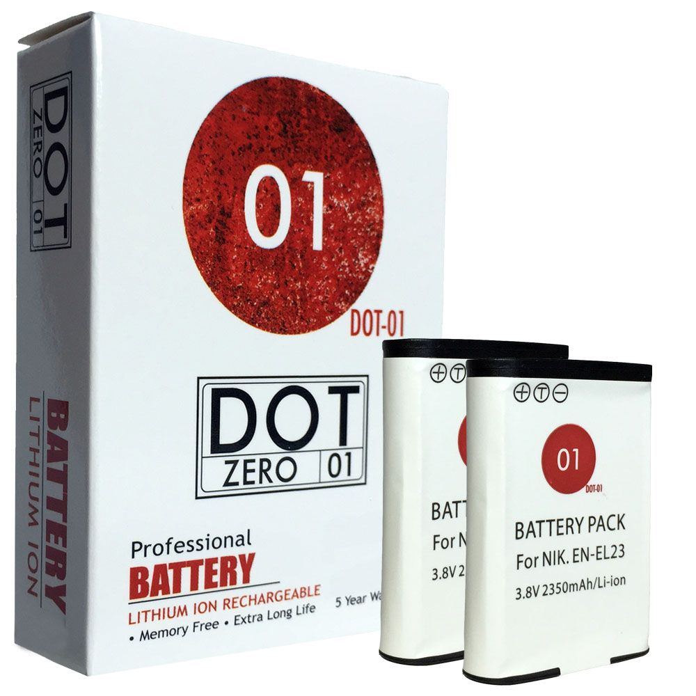 2x DOT-01 Brand 2350 mAh Replacement Nikon EN-EL23 Batteries for Nikon P600 Digital Camera and Nikon ENEL23