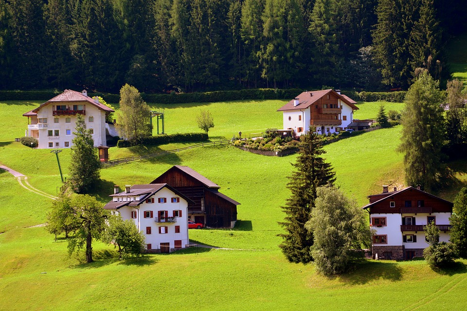 Click here to buy LAMINATED POSTER Houses Prato Nature Green Mountain House Poster Print 24 x 36.