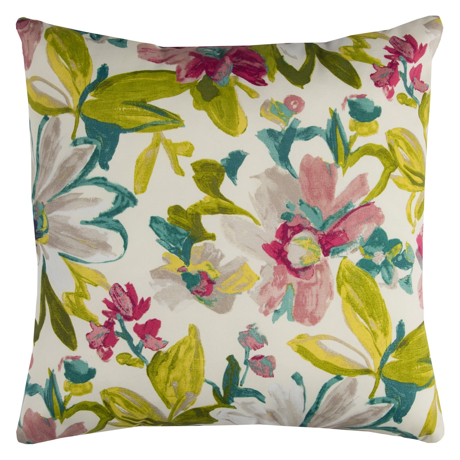 "Rizzy Home Decorative Poly Filled Throw Pillow Floral 22""X22"" Purple"