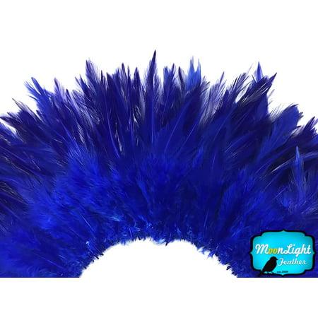 1 Yard - Royal Blue Strung Chinese Rooster Saddle Wholesale Feathers (Bulk) - White Feathers Bulk