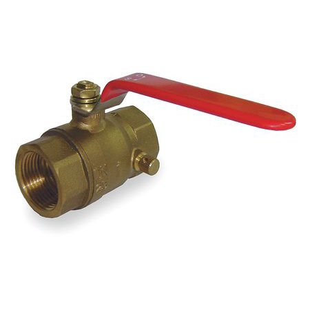 1 FNPT Brass Ball Valve with Drain Inline ZORO SELECT