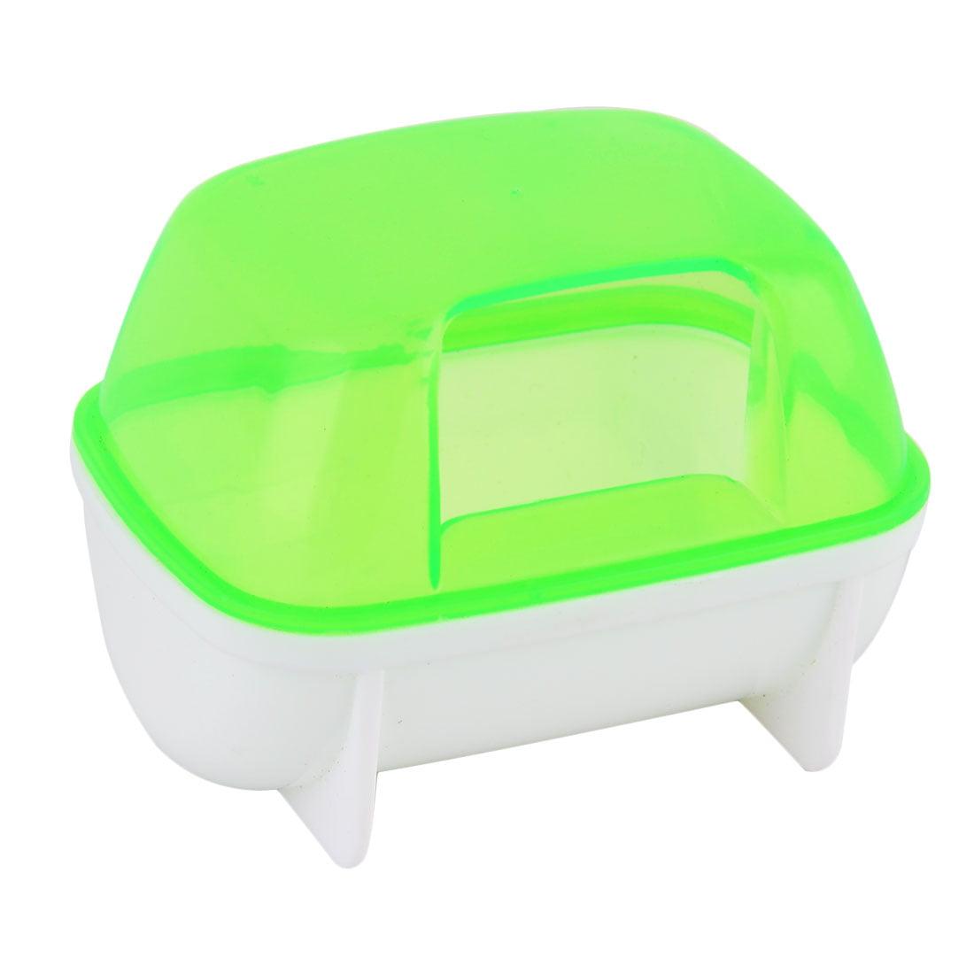 Unique Bargains Home Pet Plastic Gerbil Dual Hole Bath Bathing House Sand Cage Hamster Green by Unique-Bargains