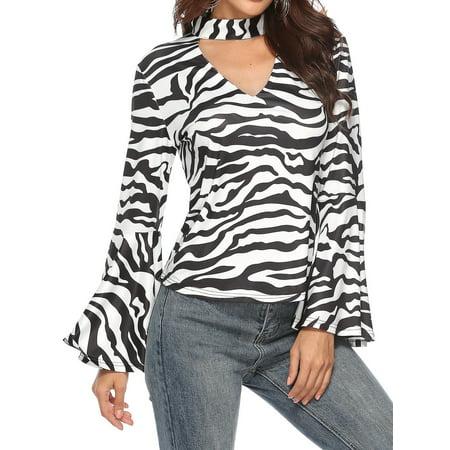 - 711ONLINESTORE Women Choker Long Flare Sleeve Zebra Shirt