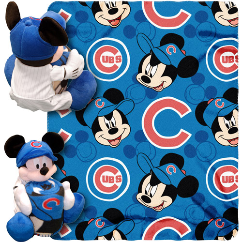 "Disney MLB Pitch Crazy Hugger Pillow and 40"" x 50"" Throw Set, Chicago Cubs"