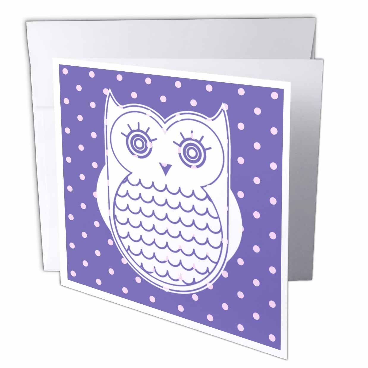 3dRose Cute Purple Polka Dot Owl - Kawaii Art - Fun Adorable Art, Greeting Cards, 6 x 6 inches, set of 12