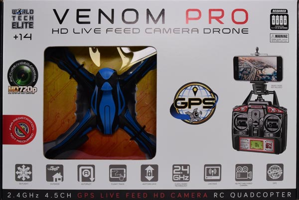 Venom Pro Live Feed HD Camera GPS Drone 2.4GHz 4.5CH Picture Video Camera RC Quadcopter by World Tech Toys