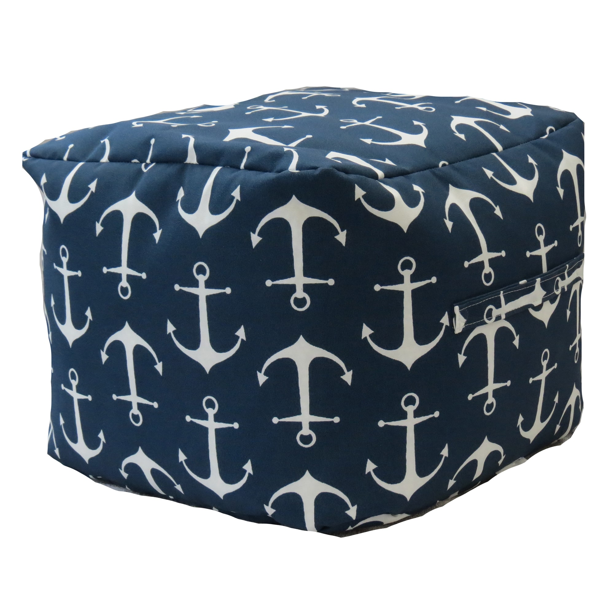 FHT Premiere Home Indoor/Outdoor Sailor Anchor Navy 17 inch Square Pouf Footstool