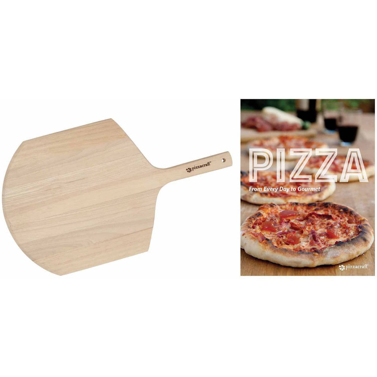 Pizzacraft Pizza Recipe Book and Wooden Peel