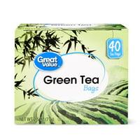 (5 Boxes) Great Value Green Tea, Tea Bags, 40 Count