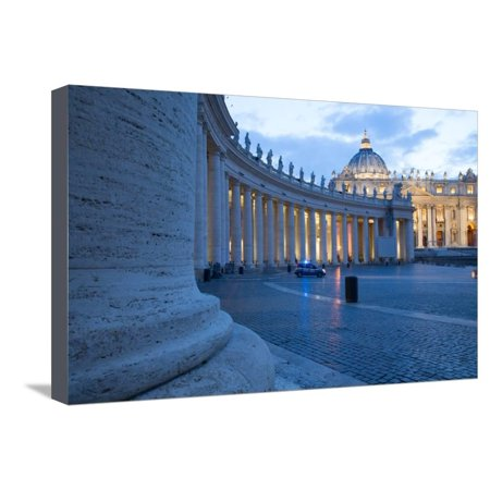 St. Peters and Piazza San Pietro at Dusk, Vatican City, UNESCO World Heritage Site, Rome, Lazio Stretched Canvas Print Wall Art By Frank Fell - Party City Official Site