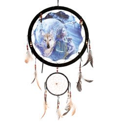 13inch Maiden with wolf Double Dream Catcher - Reproduction