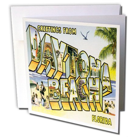 3dRose Greetings From Daytona Beach, Florida Bold Lettering with City Scenes - Greeting Card, 6 by - Card And Party City