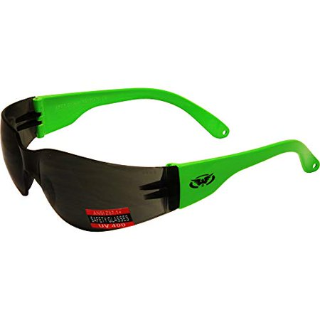 Global Vision Rider Safety Motorcycle Riding Sunglasses Neon Green Frame Smoke Lens Z87.1