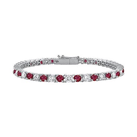July Birthstone Created Ruby and Cubic Zirconia Tennis Bracelet in 14K White Gold 1.50 CT TGW