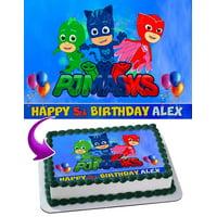 "PJ Masks Disney Junior Edible Cake Image Topper Personalized Picture 1/4 Sheet (8""x10.5"")"