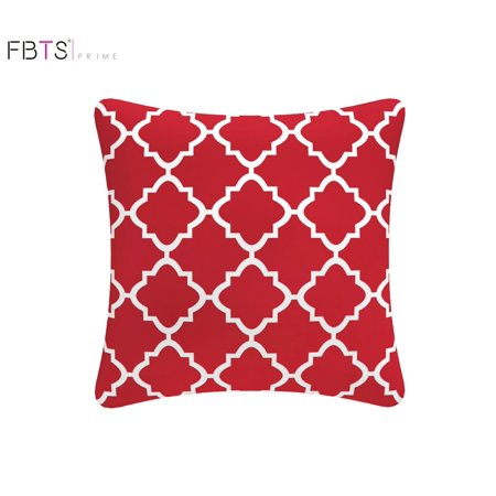 Throw Pillow with Insert Indoor Outdoor 18 by 18 Inches Decorative Square Cushion Cover Pillow Sham (Red, Quatrefoil Lattice) for Couch Bed Sofa Patio by FBTS Prime