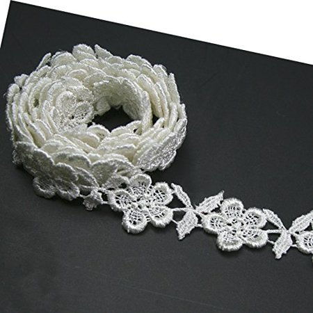 - Altotux 3/4 inches White and Ivory Rayon Floral Flower Venice Lace Trim By 2 Yards (Ivory)