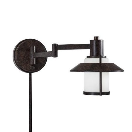 Tannery Bronze Cast (Aztec Lighting Transitional 1-light Tannery Bronze Swing Arm Pin-up Plug-in Wall)