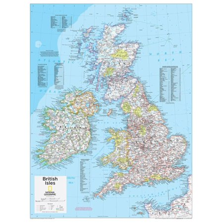 2014 British Isles - National Geographic Atlas of the World, 10th Edition Education Map Print Wall Art By National Geographic Maps