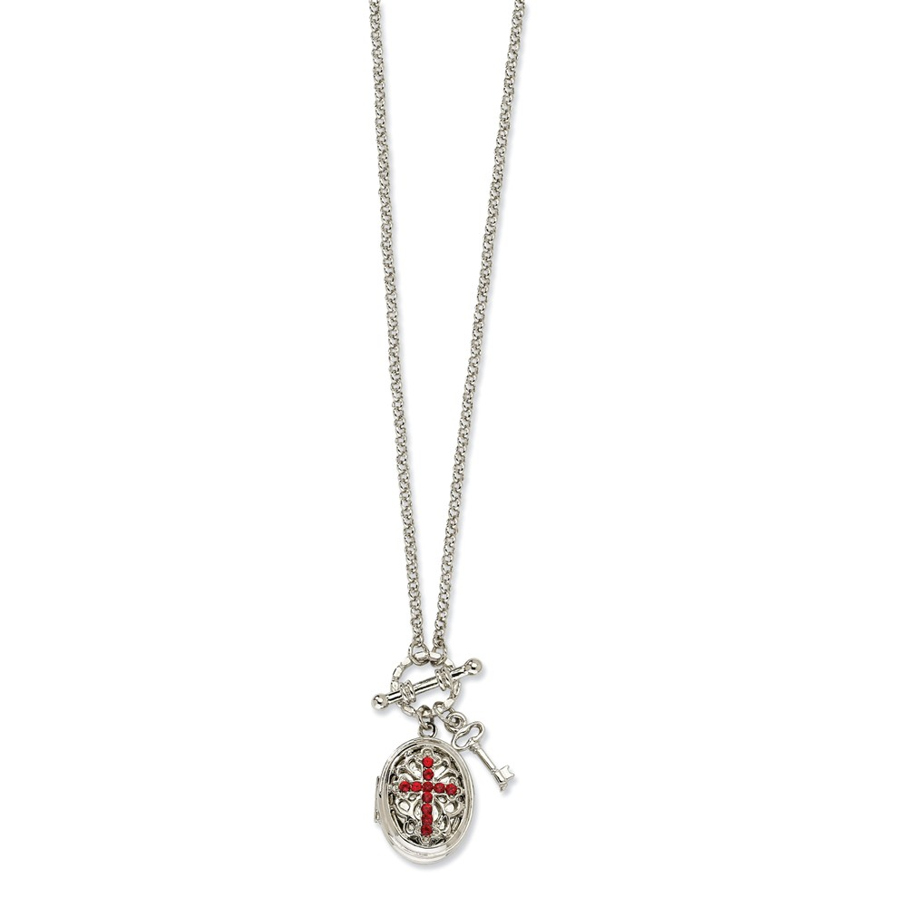 """Silver-tone Red Crystal Cross Locket 24"""" Necklace"""
