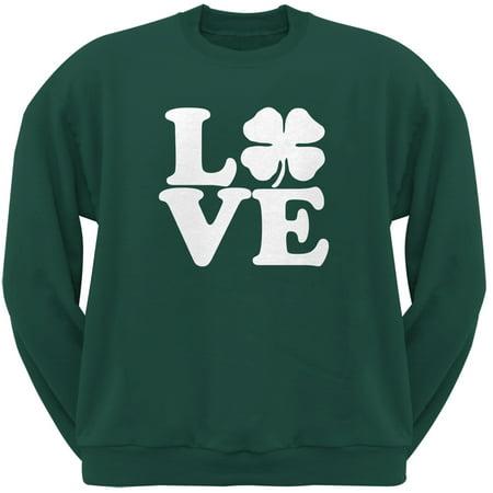 St. Patricks Day - Love Irish Shamrock Green Adult Crew Neck Sweatshirt - St Patricks Day Apparel