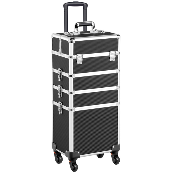 4 in 1 Aluminum Rolling Cosmetic Makeup Train Cases Trolley Professional Artist Organizer Black
