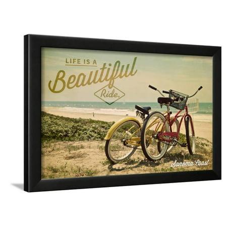 Sonoma Coast, California - Life is a Beautiful Ride - Beach Cruisers Framed Print Wall Art By Lantern Press
