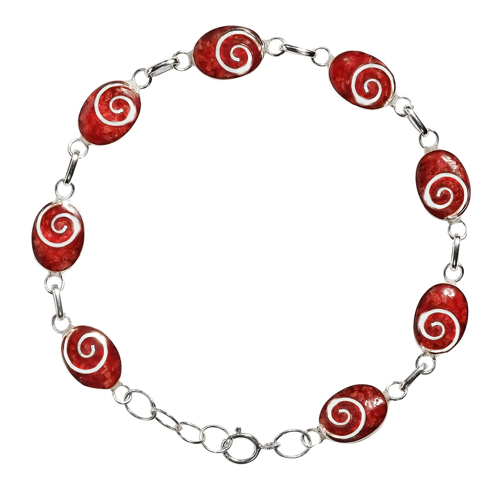 Charming Swirl Reconstructed Red Coral Oval Disc .925 Sterling Silver Link Bracelet by