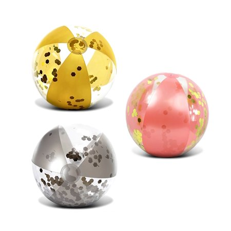Mozlly Mozlly Value Pack - CoTa Global Inflatable Beach Balls Rose Gold, Gold and Silver Confetti 16 Inch, Premium Elegant Heavy Duty Vinyl Pool Toy, For Pool Party, Vacation, UV - Themes For Pool Parties