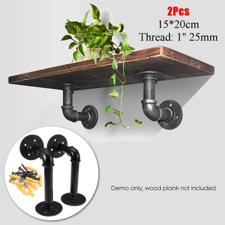 Bathroom Shelves Bathroom Fixtures 2pcs Industrial Black Iron Pipe Bracket Wall Mounted Floating Shelf Hanging Wall Hardware Decor For Farmhouse Shelving Hardware Complete In Specifications