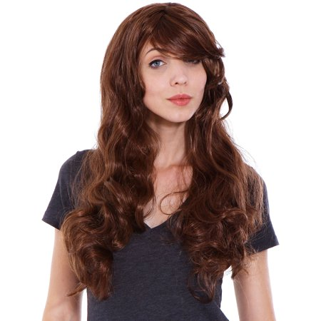 Stunning beautiful long LIGHT BROWN curly wave wig full wigs jf010023](Curly Brown Wig)