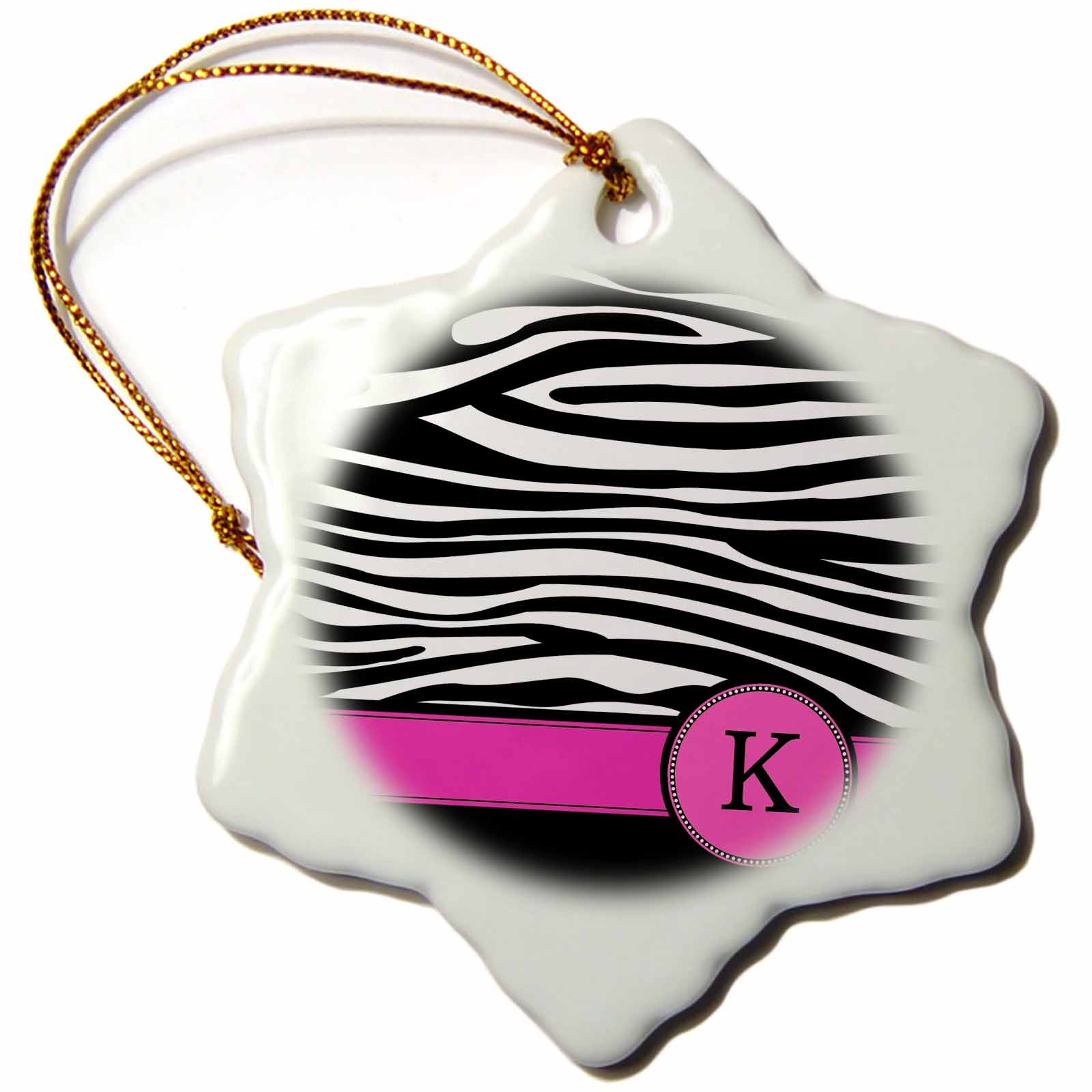 3dRose Letter K monogrammed black and white zebra stripes animal print with hot pink personalized initial, Snowflake Ornament, Porcelain, 3-inch