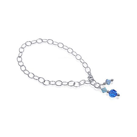 Gem Avenue Sterling Silver Blue Crystal 9 inch Anklet Swarovski (Green Swarovski Glass)