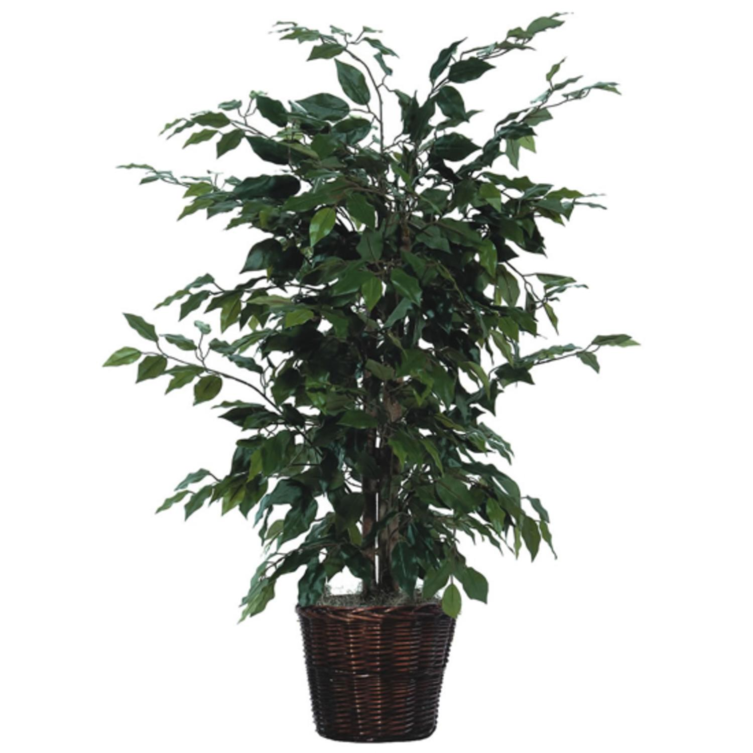 4' Potted Artificial Natural Ficus Bush