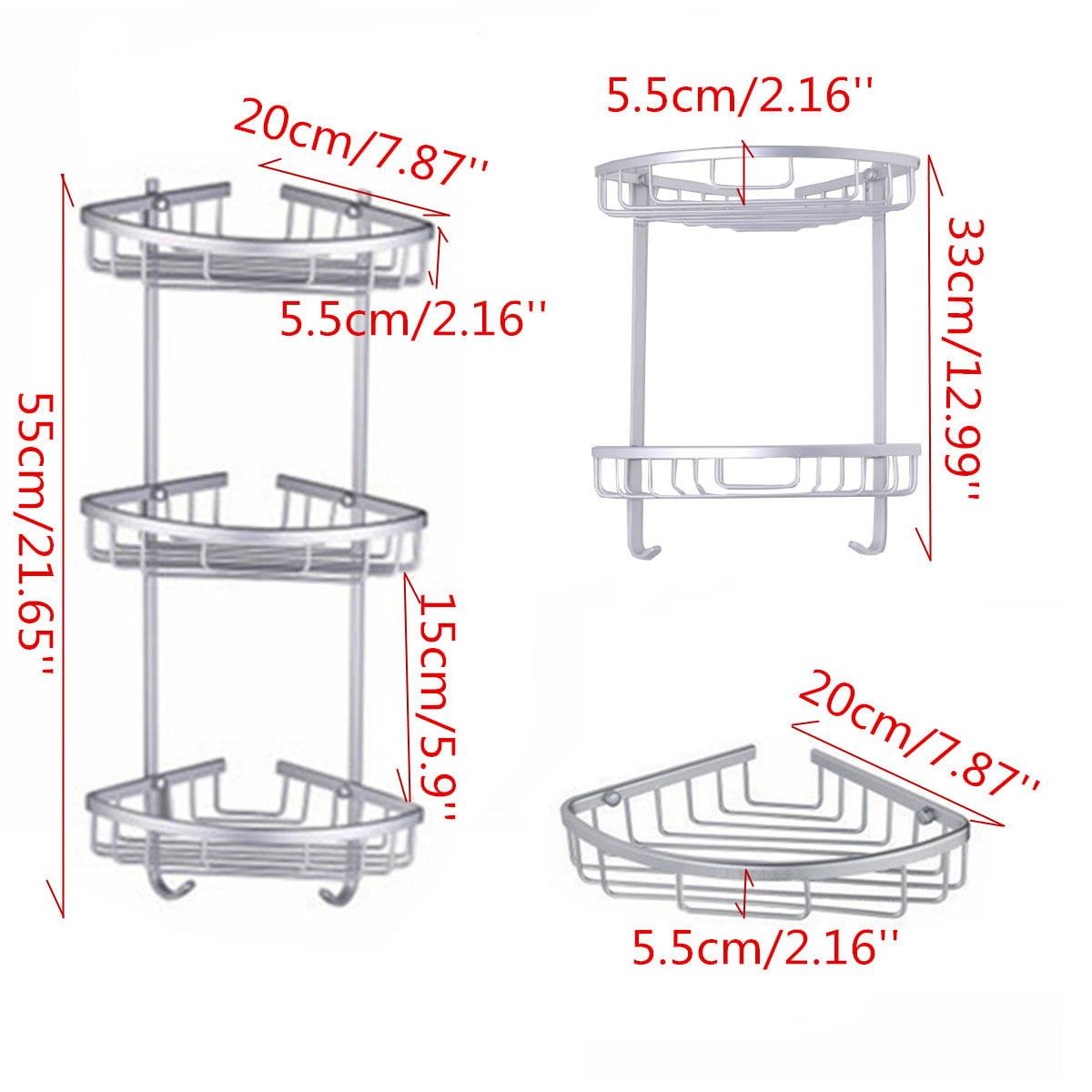 Triangular Shower Caddy, 3 Layers Aluminum Bathroom Corner Rack ...